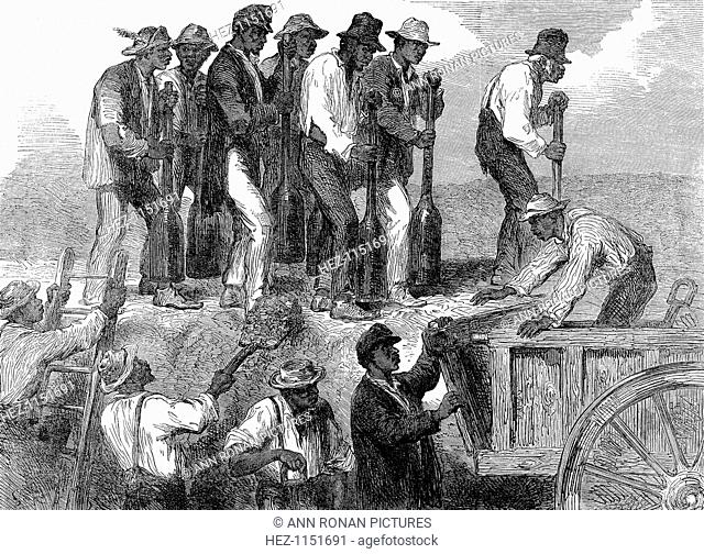Negro labour strengthening the fortifications of Savannah, Georgia, American Civil War. From The Illustrated London News, 18 April 1863