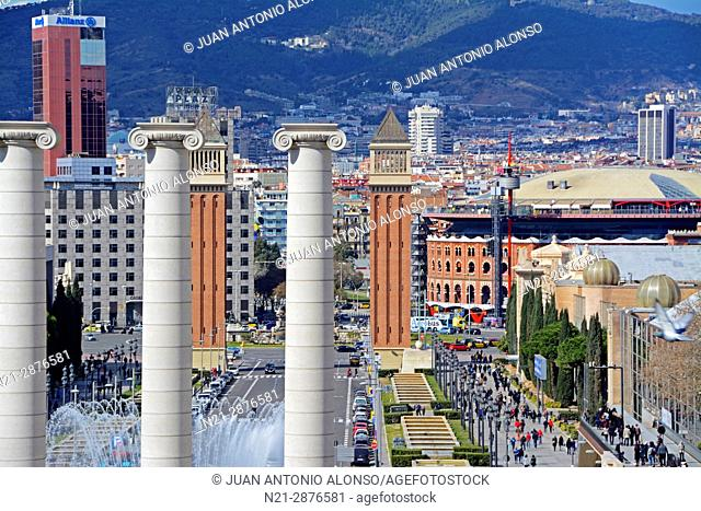 Three of the four columns -Les Quatre Columnes- erected in 1919 by architect Puig i Cadafalch and demolished in 1928 by Primo de Rivera's dictatorship