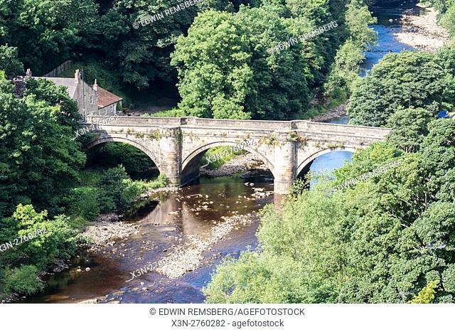 UK, England, Yorkshire, Richmond - An old stone bridge in the city of Richmond located in Northern Yorkshire