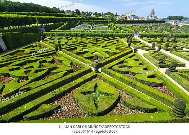 French Gardens, Ecological gardening, Villandry Castle, Villandry, Indre-et-Loire Department, The Loire Valley, France, Europe