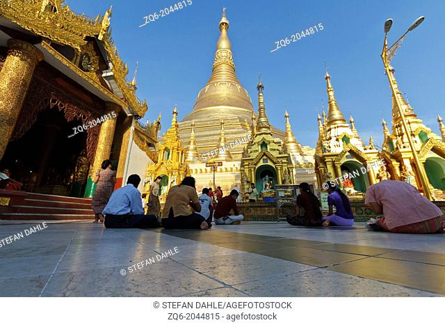 The Stupa of the Shwedagon Pagoda in Rangoon, Myanmar
