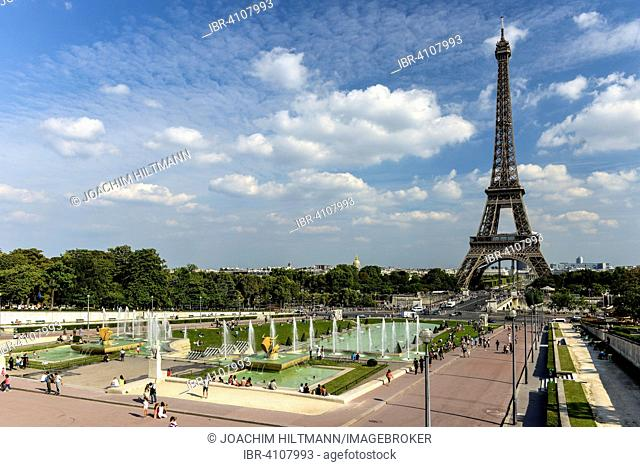 Eiffel Tower, Trocadero, the Trocadero gardens, Paris, France
