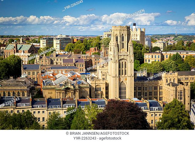 View over Bristol and the Bristol University Tower from Cabot Tower, Bristol, England