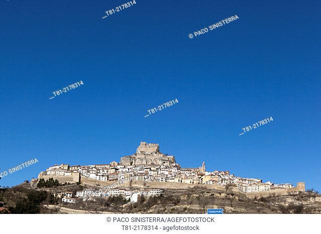 Panoramic view of Morella, Castellon province, Comunidad Valenciana, Spain