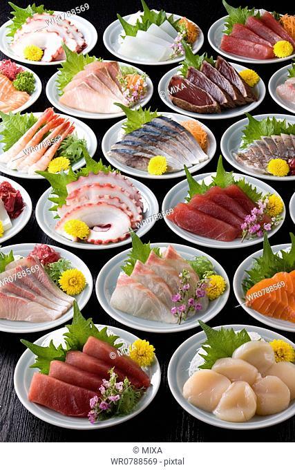 Various Sashimi on Plate
