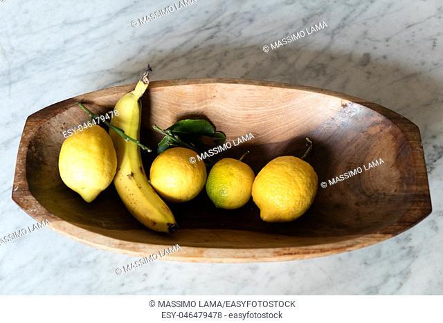 Banana, lemon still life, backround