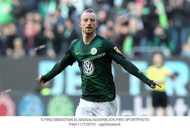 firo: 16.02.2019 Football, Football: 1. Bundesliga, Season 2018/2019 VfL Wolfsburg - FSV FSV FSV Mainz 05 jubilation, goaljubel, VfL Maximilian Arnold