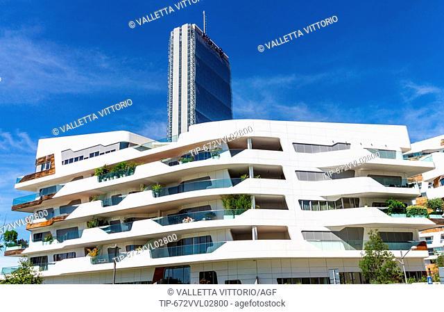 Italy, Lombardy, Milan, Arata Isozaki Tower and residence designed by Zaha Hadid