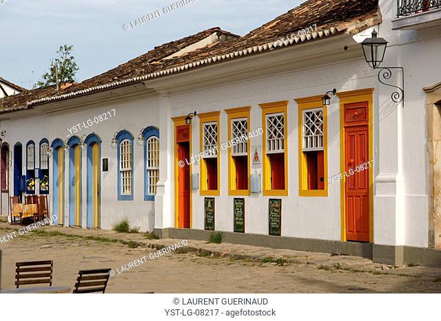 Restaurant, tables, Center Historical City, Paraty, Brazil