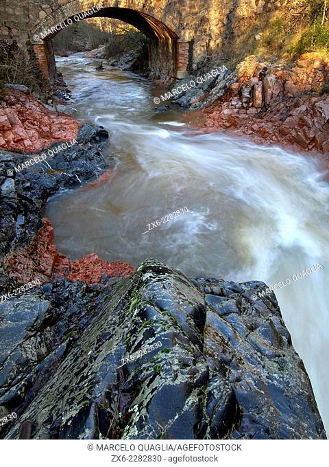 Major stream near Viladrau village. Winter at Montseny Natural Park. Barcelona province, Catalonia, Spain