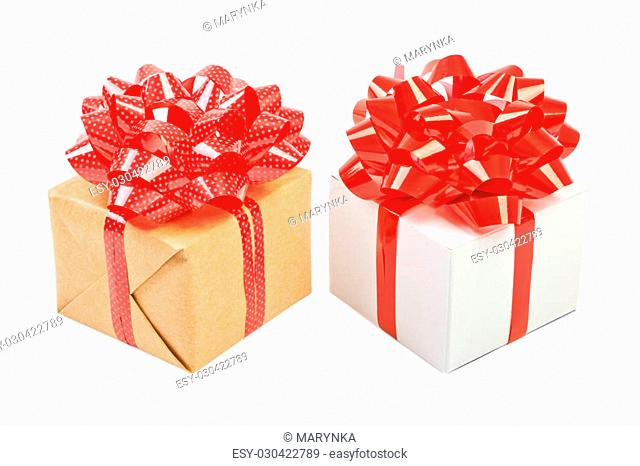 Gift box with ribbon bow. Isolated on white