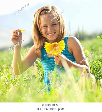 Young girl pulling petals off of gerbera daisy