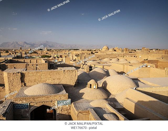 downtown rootops and landscape view of yazd city old town in iran
