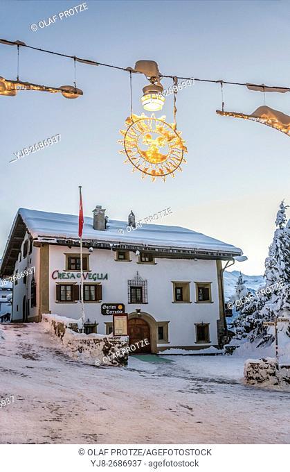 Restaurant Chesa Veglia at dawn, St. Moritz, Graubuenden, Schweiz