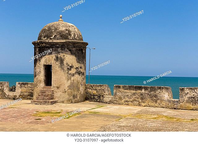 Bastion in the ancient walled city of Cartagena de Indias. UNESCO's historical heritage of humanity. Cartagena, Colombia