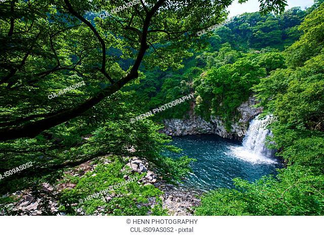 Waterfall at Cheonjeyeon falls on Jeju Island, Jeju Island, South Korea
