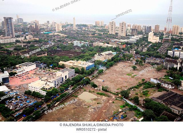 aerial view of parel worli with century mill and sahara one complex , Bombay Mumbai , Maharashtra , India