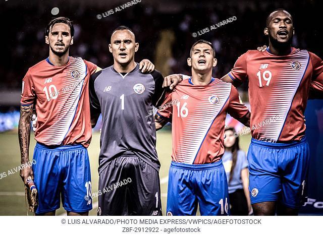 SAN JOSE, COSTA RICA. JUNE 13, 2017 - Costa Rica players Bryan Ruiz, Keylor Navas, Cristian Gamboa and Kendall Waston singing the national anthem previous to...