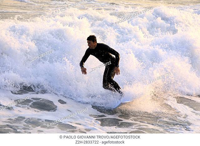 Surfing, Alassio, Riviera dei Fiori, Savona, Liguria, Italy