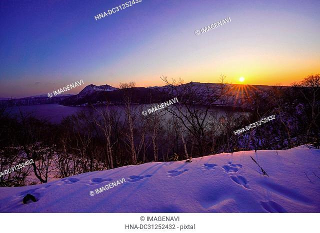 Sunrise Glow in Lake Mashu, Hokkaido, Japan