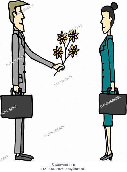 Business love / Businessman giving flowers