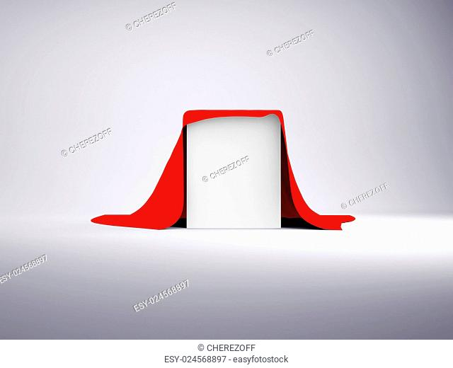White box covered with red cloth. Render on a gray background