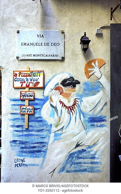 Naples Campania Italy. Street graffiti at Quartieri Spagnoli(Spanish Quarters), a part of the city ofNaplesinItaly