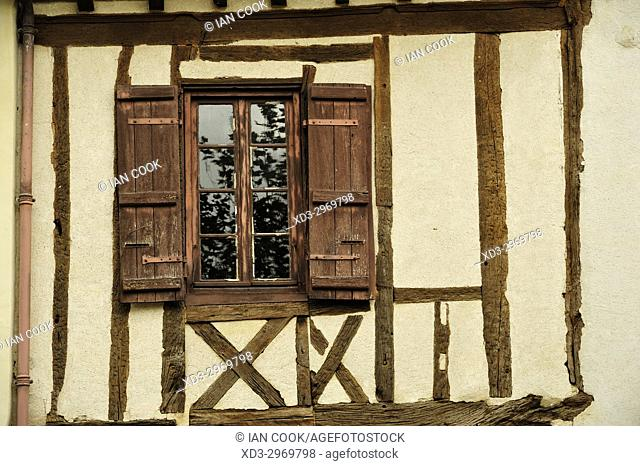 half-timbered architecture, Fources, Gers Department, Occitanie, France