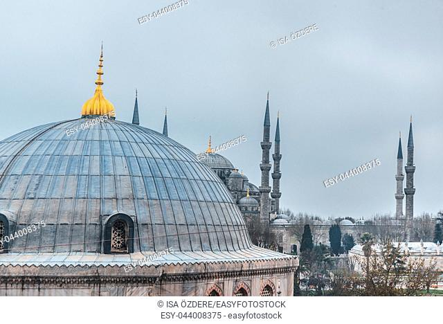 ISTANBUL/TURKEY- MARCH 11,2017:View from the outside,inner courtyard and archway of blue Mosque also called Sultan Ahmed Mosque or Sultan Ahmet Mosque in...