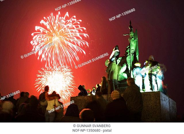 People watching fireworks on Culture Night by Arnarholl, Reykjavik