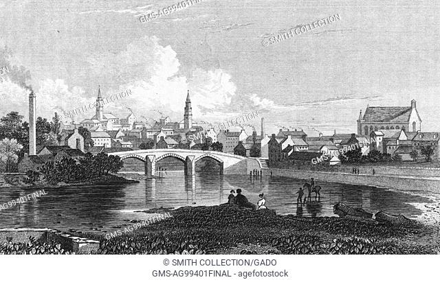 Engraving depicting a bridge spanning the White Cart Water in the town of Paisley, Scotland, 1850. From the New York Public Library