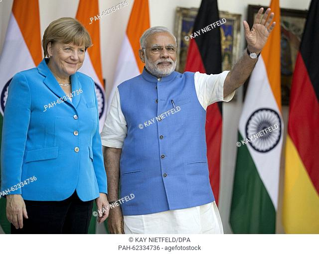 German Chancellor Angela Merkel is received by Indian Prime Minister Narendra Modi in New Dehli, India, 05 October 2015. Germany wants to be a partner in...