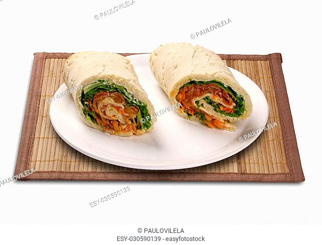 Natural fresh baguette sandwich with salad. White background