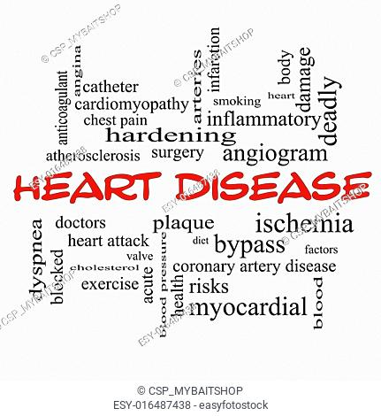 Heart Disease Word Cloud Concept in red caps