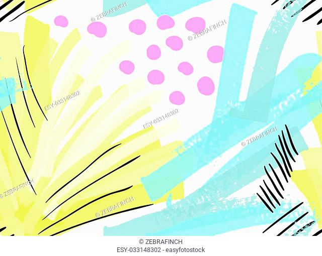 Artistic color brushed green yellow strokes with black hatches.Hand drawn with ink and marker brush seamless background.Abstract color splush and scribble...