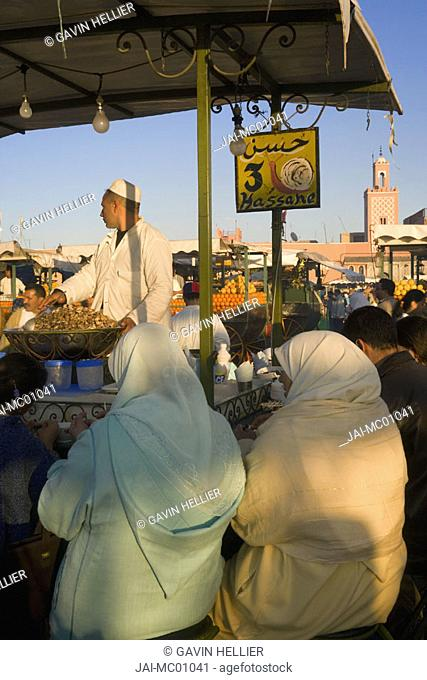 Outdoor food stalls in Djemaa el-Fna, Marrakech, Morocco
