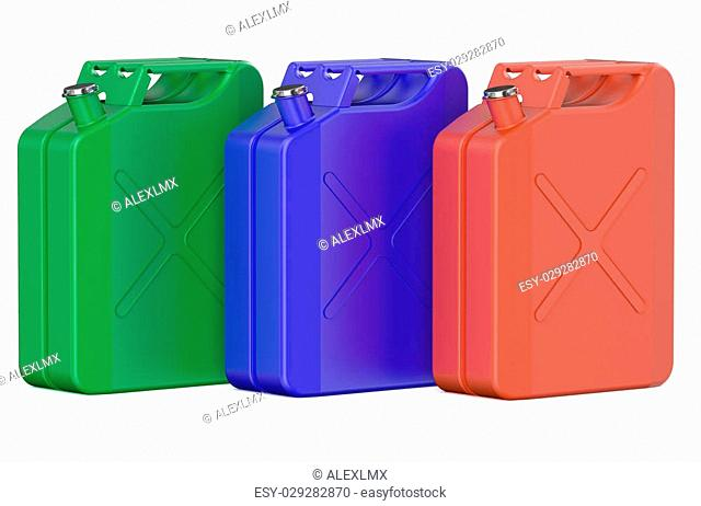 set of colored steel jerrycans isolated on white background