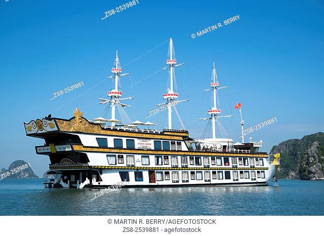 Cruise ship in Cang Do area a part of Halong Bay world heritage location,Vietnam
