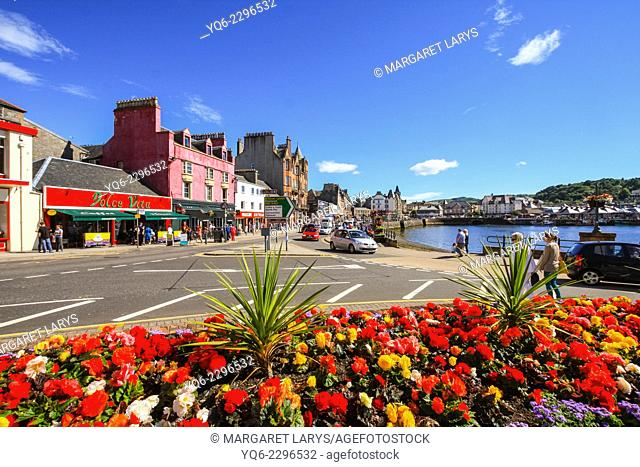 Streets of Oban, a fishing town in Scotland, United Kingdom