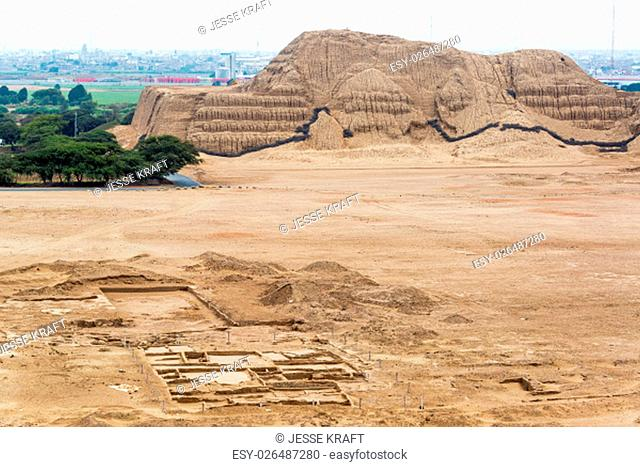 View of the ancient pyramid known as the Huaca del Sol in Trujillo, Peru