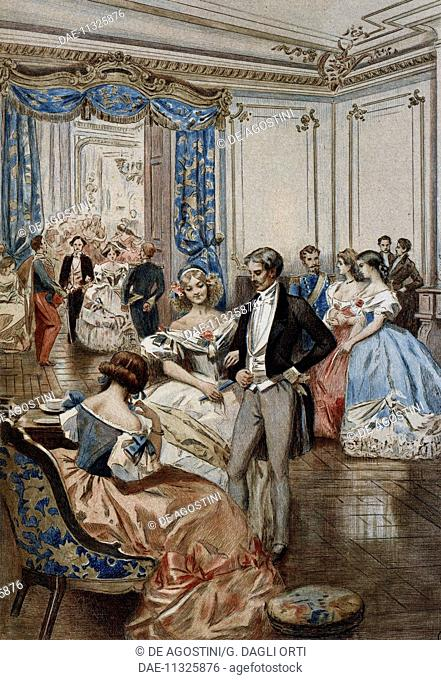 Social life in 1850, illustration by Albert Lynch (1851-after 1900) from La Francaise du siecle (The French of the Century): fashion, manners, customs, 1886