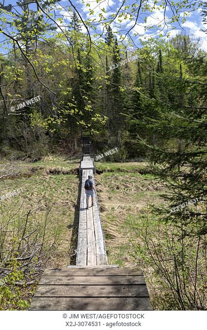 Ontonagon, Michigan - The Beaver Creek Trail over the Little Carp River in Porcupine Mountains Wilderness State Park
