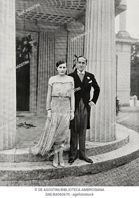Edda Mussolini (1910-1995) and Galeazzo Ciano (1903-1944), in the day of their marriage ceremony, at Villa Torlonia, Rome, Italy, photo by A Bruni