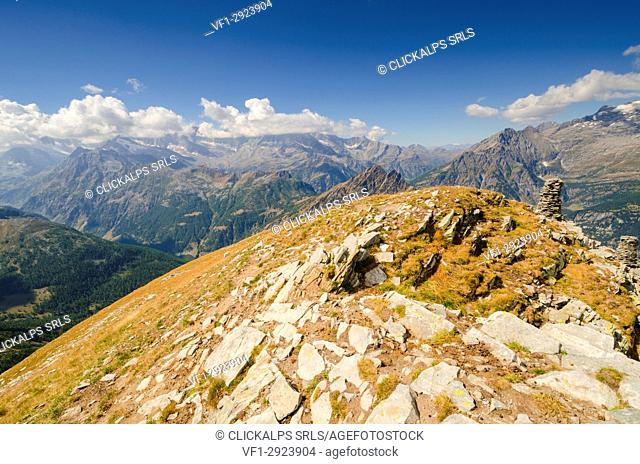 Panorama from Camoscellahorn to Zwischbergental (Val Bognanco, Ossola, Piedmont, Italy, Italian alps)