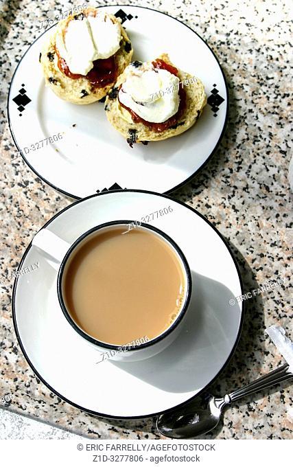 Tea, Scone, clotted cream and jam