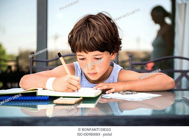Boy at table writing in workbook