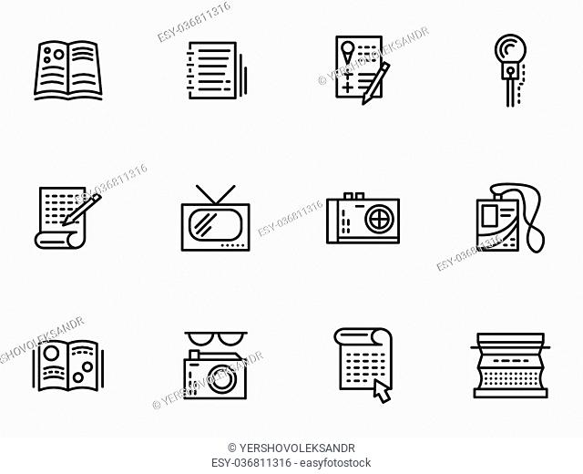 Symbols of media publishing. Simple line vector icons set. Journalism, reports, interviews and publications. Web design elements for business