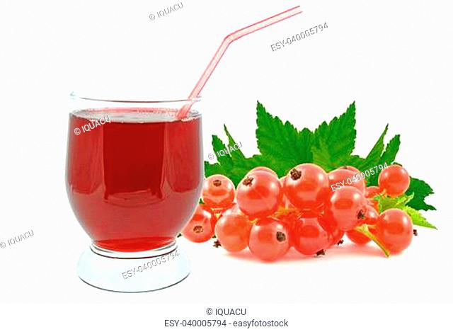 juice of red currants on a white background