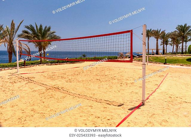 The beach at the luxury hotel, Sharm el Sheikh, Egypt. view from the net of volleyball court