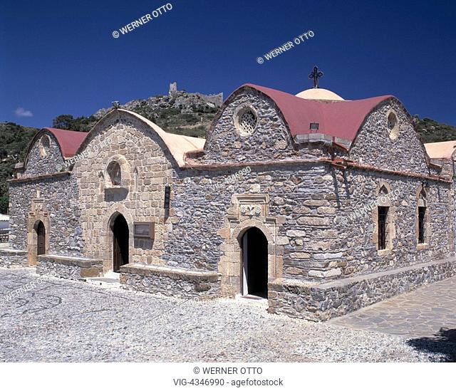 Griechenland, Rhodos, Dodekanes, GR-Asklipion, Kirche Kimisis tis Theotoku, Burgruine, Johanniterordensburg Greece, Rhodes, Dodecanese, GR-Asklipion